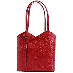 AmbraModa SL703 – sac à main en cuir véritable pour femme, sac à dos, sac à porté épaule 2-en-1
