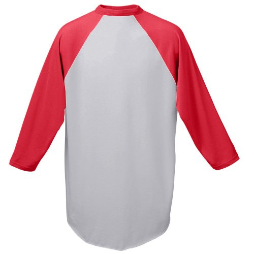 en's Baseball Jersey, X-Large, Athletic Heather/Red (Red Apparel Adult Tee)