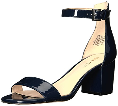 Nine West Women's Fields Patent Dress Sandal, Navy, 6 M - Patent Dress Sandal