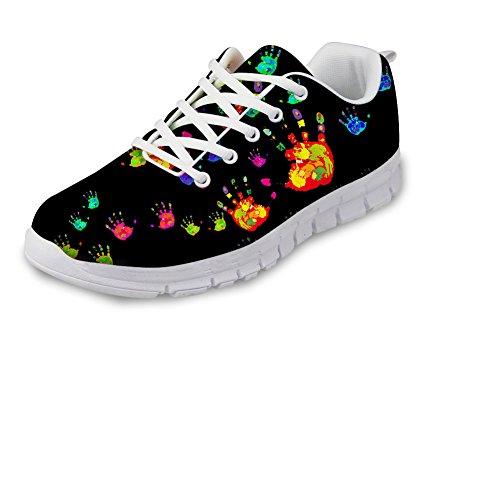 Bigcardesigns Donna Moda Scarpe Da Ginnastica Sneakers Stringate Impronte Di Mani