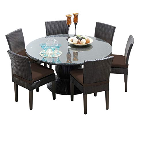 HomeRoots 60 Inch Outdoor Patio Dining Table with 6 Armless Chairs - Cocoa, Made of PE Resin with Powder Coated Aluminum Finish ()