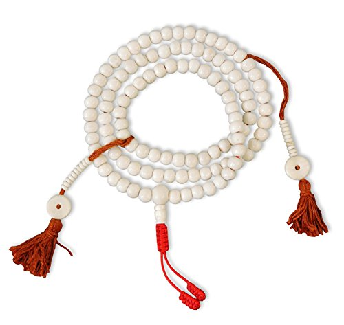 (Tibetan Yak Bone Mala 108 Beads for Meditation in a Handmade Cloth Bag BM-01)