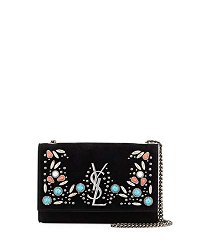 9953058730a6 Image Unavailable. Image not available for. Color  Saint Laurent Kate  Monogram YSL Small Stone-Studded Suede Shoulder Bag ...