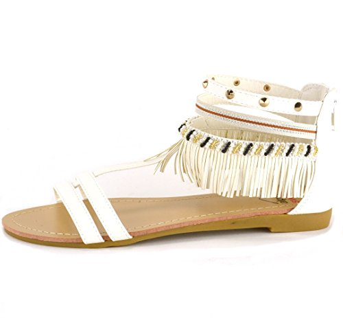 amp; Gladiator White swiss Beaded Womens Flat alpine Fringe Sandals Studded qtROwnxp