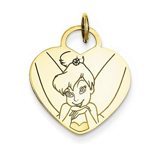 - Roy Rose Jewelry Gold-Plated Sterling Silver Disney Tinker Bell Heart Charm Necklace Complete with Chain