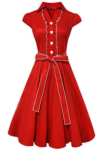 Anni Coco Women's 1950s Cap Sleeve Swing Vintage Party Dresses Red Medium