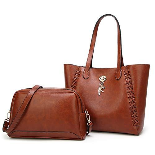 Purse New Bags 2pcs Fashion Handbag Style WENIG Bag Brown handle Shoulder Top Tote Lady 7zvdqx
