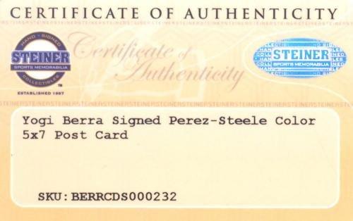 Yogi Berra Autographed 3.5x5.5 1992 Perez Steele Postcard Yankees 126222 Steiner Sports Certified MLB Cut Signatures