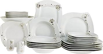 beyazca Zara 28 piezas Porcelana essservice para 6 personas | rectangular | Lavavajillas, microondas fijo