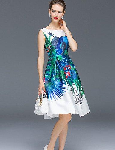 PU&PU Robe Aux femmes Trapèze Simple,Couleur Pleine Col Arrondi Mi-long Polyester , white-m , white-m