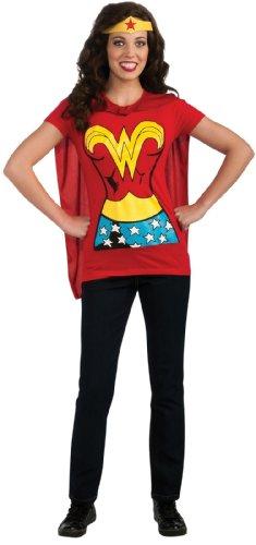 [DC Comics Wonder Woman T-Shirt With Cape And Headband, Red, Medium Costume] (Female Adult Halloween Costumes)