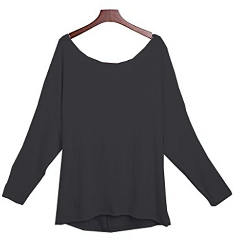 Yingkis Women Cut Out Loose Pullover Criss Cross Backless Sweater Shirt Top,B M by Yingkis (Image #2)