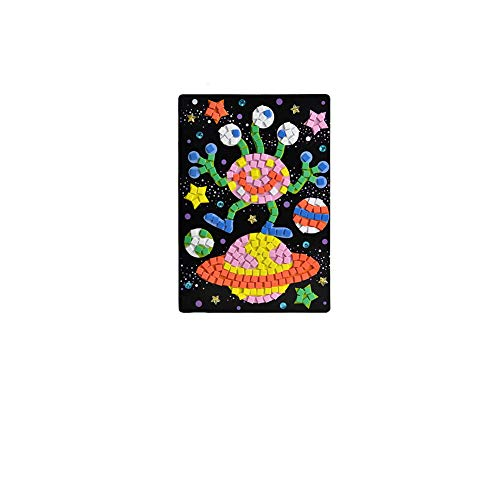 Crystal Puzzle Mini Memory Game Puzzle Toy 3D DIY Puzzle Toys Colors Crystal Diamonds Foam Mosaics Sticky Art Cartoon Game Craft Art Sticker Kids Education Toys(UFO)