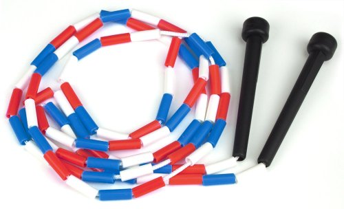 K-Roo Sports Jump Rope with Plastic Beaded Segmentation, 7', Red/White/Blue