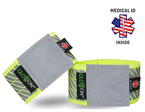W Reflective Bands | Medical ID Reflective Gear | Reflectors Running, Cycling, Jogging, Walking | Set of 2 Reflective Arm Wrist Ankle Leg Safety Bands | Bike Pants Cuff | for Men, Women and Kids