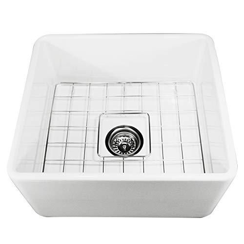 Nantucket Sinks T-FCFS-20 20-Inch  Single Bowl Fireclay Farmhouse Kitchen Sink, White