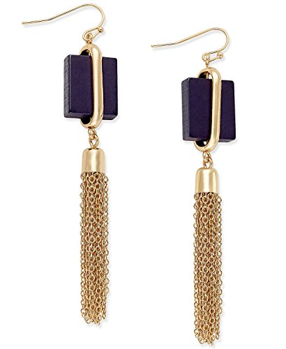 INC International Concepts Gold-Tone Square Navy Stone Tassel Drop Earrings, 3