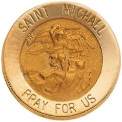 Banvari 15.00 mm St Michael Lapel Pin in 14K Yellow Gold