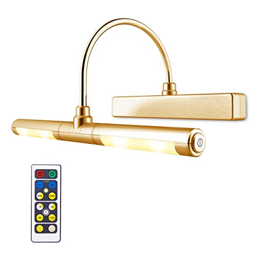 LUXSWAY Picture Light Remote Control Wireless Battery Operated Tap Lens Heads Rotatable 180 Degree LED Dimmable Lighting for Artwork/Pictures/Diplomas-Gold