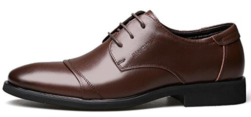 Oxfords Top Brown Round Fashion Low Mens Shoes Toe IDIFU Up Low Heels Chunky Lace PwX4nq