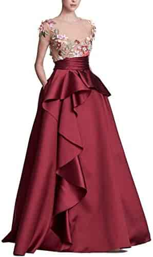 bea03f5b Marchesa Notte Women's Cap Sleeve 3D Floral Embroidered Mikado Ball Gown