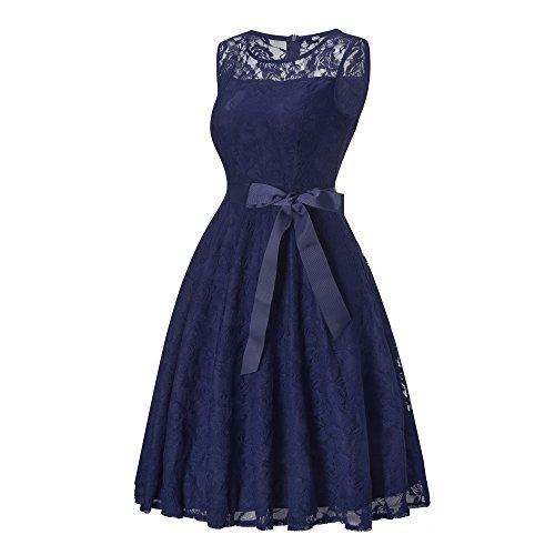 Elegante Cerimonia Donna Vestito Manica Scollo Vintage Rotondo Molti Senza DYLH Cocktail Blu Colori in Pizzo qHZwZS4