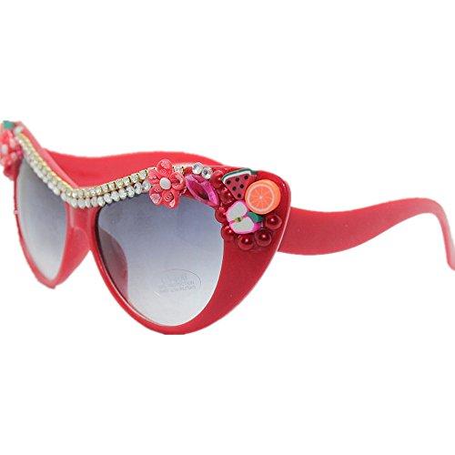 And sol de vacaciones de hechas Fruits Style mano de playa de de sol la Gafas de Peggy Gafas de la flor Gu protección Eyes UV a Cat la Crystal verano wzFBEqx