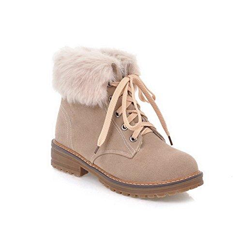 AdeeSu Womens Snow Boots Fringe Bandage Suede Boots SXC02507 Beige 0TMhZsBCB