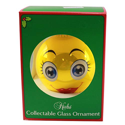 Connie N Randy Holiday Style Krebs Collectible Glass Ornament Meet me Under The Mistletoe Emoji