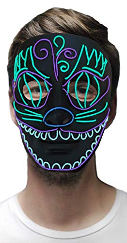 MuraK LED Party Light up Mask with Sound Active for Halloween Festival Rave Blue ()