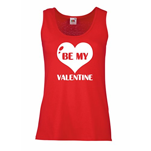 Female Tank top Be my Valentine, quotes about love great gift (X-Large Red White)