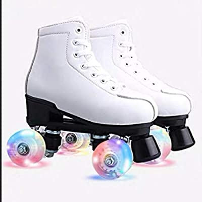 Magnitt Womens Roller Skates,Double Row Skates Adjustable Leather High-top Roller Skates Perfect Indoor Outdoor Adult Roller Skates with Bag
