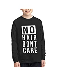 Laura Longman Youth Comfortable Long Sleeve Crew Neck Cotton No Hair Don't Care-1 Tee