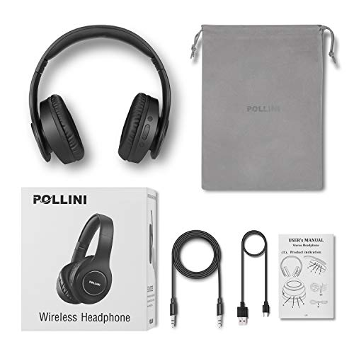 Bluetooth Headphones Over Ear, Pollini Wireless Headset V5.0 with Deep Bass, Soft Memory-Protein Earmuffs and Built-in Mic for iPhone/Android Cell Phone/PC/TV (Black)