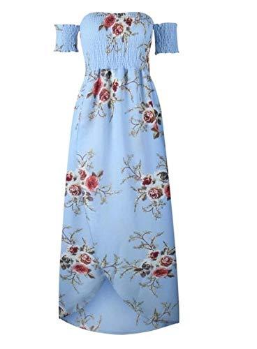 Vivian Inc Style Long Dress Women Off Shoulder Beach Summer Dresses (Blue,Xs)