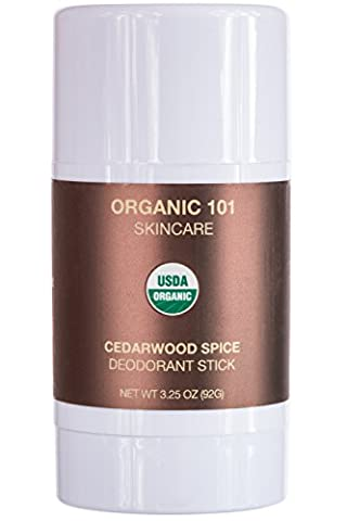 ORGANIC 101 Cedarwood Spice USDA Certified, All Natural, Extra-Strength Deodorant No Aluminum, Parabens, & Other Toxic Chemicals, Stay Clean, Smell Fresh (3.25oz, Satin - Thai Natural