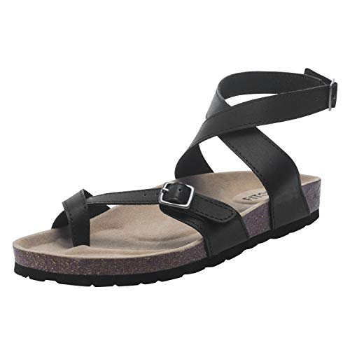 FITORY Womens Flat Sandals Toe Loop Cork Thong with Ankle Strap Comfort Outdoor Shoes Black Size10 ()