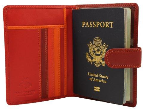 Visconti RFID Blocking Leather Passport Wallet, Red Multi, One Size