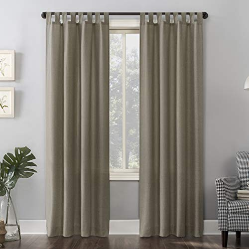 "No. 918 Trevor Heathered Texture Semi-Sheer Tab Top Curtain Panel, 40"" x 63"", Barley Brown"