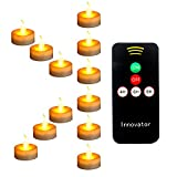 Innovator LED Remote Tea Lights with Timer,Electric Fake Candles,Flickring Amber Flameless Votive Lights,Tealight Candles for Wedding and Home Decoration,Pack of 12