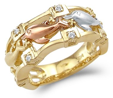 Sonia Jewels Size- 9-14k Tri-Color Gold Unique Three Dolphins Together Ring