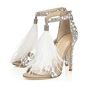 Hinyyrin Women's Tassels Rhinestone Heeled Sandals Wedding Dress White Sandals Stiletto Heel Pearl