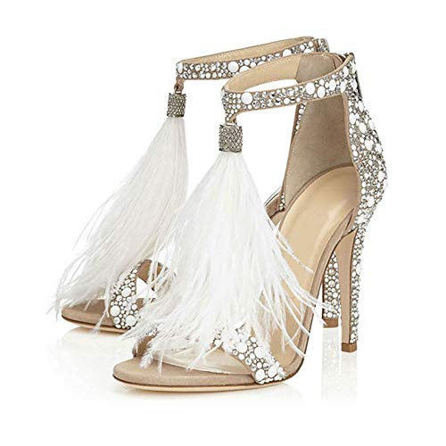 (Hinyyrin Women's Tassels Rhinestone Heeled Sandals Wedding Dress White Sandals Stiletto Heel Pearl Size 11)