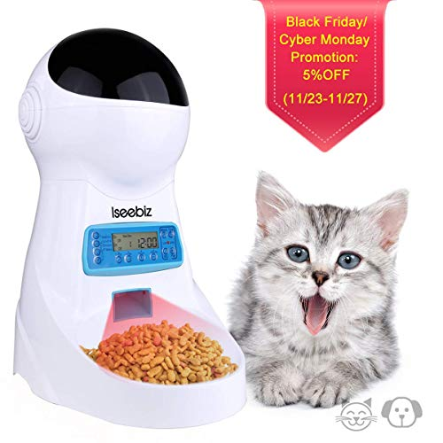 Iseebiz Automatic Cat Feeder 3L Pet Food Dispenser Feeder for Medium & Large Cat Dog——4 Meal