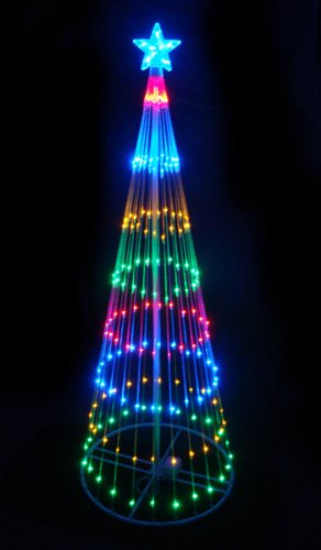 LB International 6' Multi-Color LED Light Show Cone Christmas Tree Lighted Yard Art Decoration by LB International (Image #1)