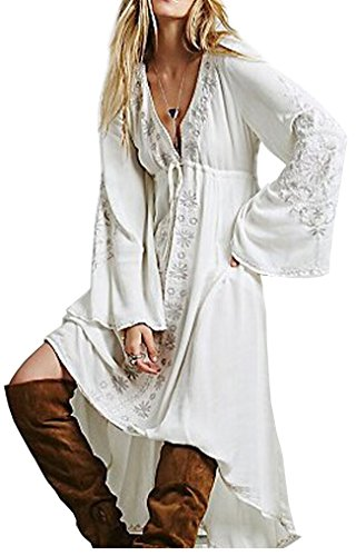 [R.Vivimos Women Cotton Embroidered High Low Long Dresses 3XL White] (Hippie Dress)