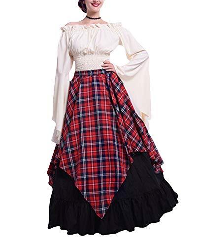 Adulte Robe Gz manches Déguisement Rouge Drame Fête Médiéval cosplay Maxi Zhuikuna Évasées Costume Carnaval toussaint XkZiOTwuP