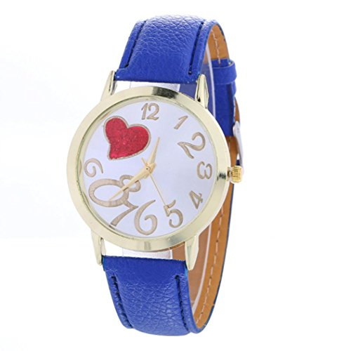 AMA(TM) Women Fashion Love Pattern Leather Analog Quartz Wrist Watch Xmas Gifts - Dial Pearl Link