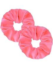 2 Pack Neon Pink Neon Color Scrunchies Girls' Elastic Hair Ties