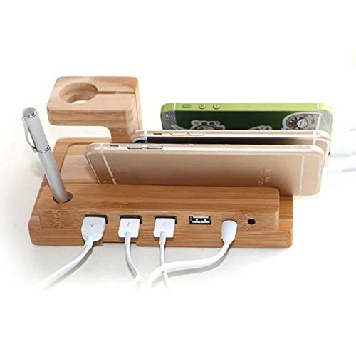 AIYIBEN Charging Station, 100% Nature Wooden 4 in 1 Charging Stand Compatible for iPhone iPad iPod and Apple Watch, 4 Port USB Charging Stand Station Dock Platform Cradle Holder by AIYIBEN